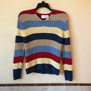 Liz Claiborne Womens Striped Cotton Sweater